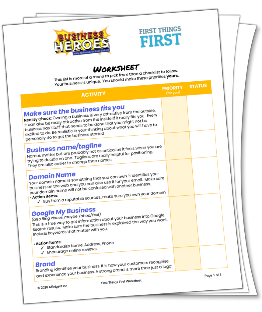 First Things First Worksheet